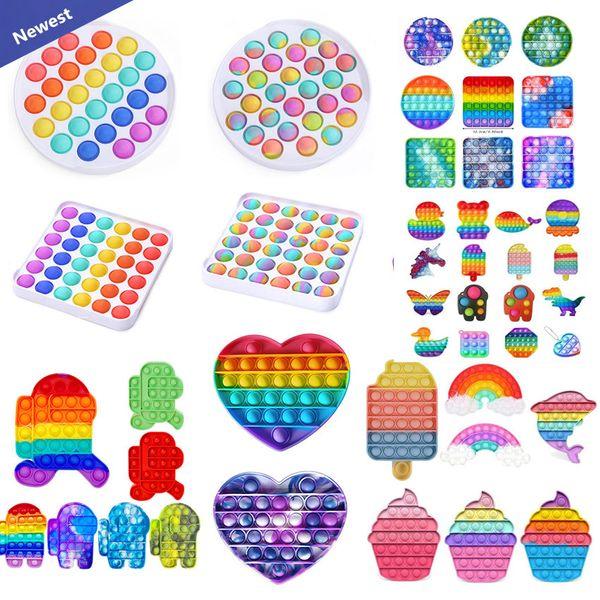 top popular Tiktok DHL Rainbow Push Pop It Fidget Toy Sensory Push Bubble Fidget Sensory Autism Special Needs Anxiety Stress Reliever for Office Workers Fluorescen gift 2021