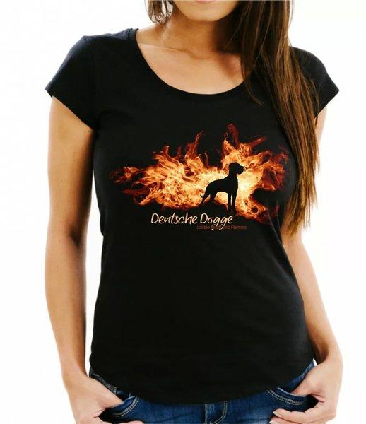 Ladies T-Shirt German Bulldog fire and flame by siviwonder Dog Motif