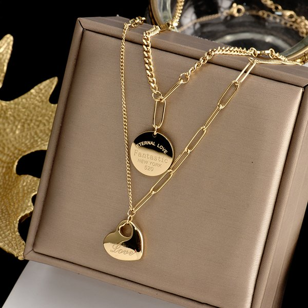 best selling Heart Smile Coin Pendant Necklace Flat bottom solid love for women Gold Color Jewelry Gifts