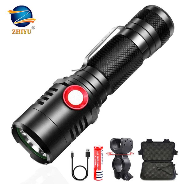 best selling ZHIYU Rechargeable Tactical LED Flashlight XML-T6 L2 Flashlight Zoomable 3modes for 18650 with USB Cable Camping Hunting Biking 201207