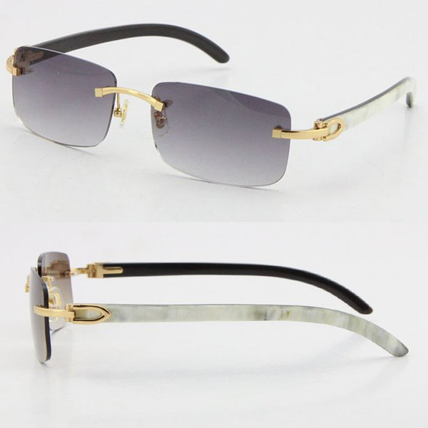 best selling Wholesale Selling Style 8200757 Sunglasses Original Genuine Natural black and white vertical stripes Buffalo horn Rimless 8200758 Male Female Glasses Unisex