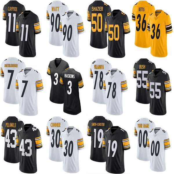 best selling Chase Claypool T.J. Watt Custom Football Jerseys Troy Polamalu Dwayne Haskins Minkah Fitzpatrick JuJu Smith-Schuster Ben Roethlisberger Jerome Bettis James Conner