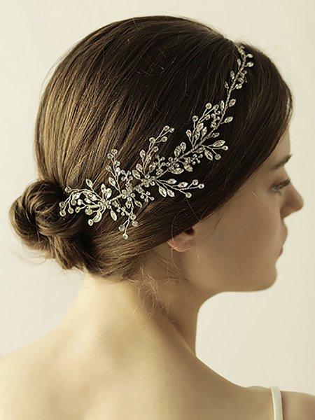 Low-key luxury Silver Rhinestone Handmade Leaves Hair band Bridal Hair Accessories Wedding Decoration for women