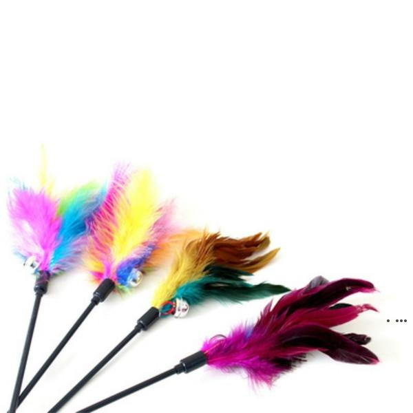 top popular Cat Toys Kitten Pet Teaser 38cm Turkey Feather Interactive Stick Toy With Bell Wire Chaser Wand HWE5980 2021