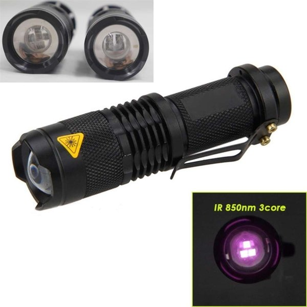 top popular IR Tactical Hunting Flashlight 3W 850nm 3core Zoomable Infrared Night Invisible light linternas Torch for AA   14500 Battery 201210 2021