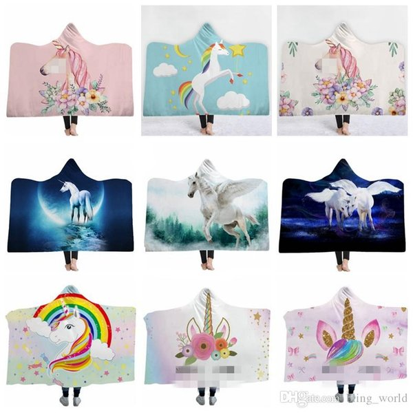 best selling Sherpa Blanket Wearable Fleece Blankets Oversized ThrowBlankets Cartoon Unisex Warm Bathrobe Unicorn Christmas Gift 59 Designs WLL996
