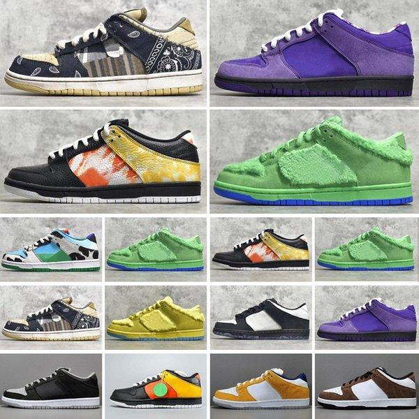 SB Dunk Chunky Dunky Low Running Shoes Travis Scotts Dunks Brazil Raygun Tie Dye Muslin Infrared StrangeLove Skateboards