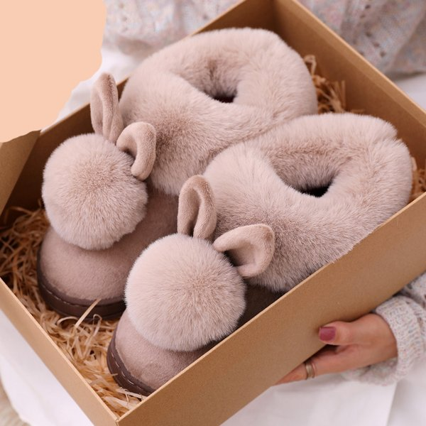 women winter slippers Cotton Slippers Rabbit room Indoor Slippers Winter Warm Shoes Womens Cute Plus Plush