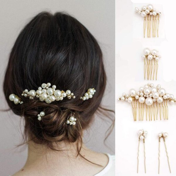 5 PCSt Simulated Pearl Hair Pins Clips and Comb for Women Flowers Hair Combs Wedding Bridal Party Hair Jewelry for Gift Women