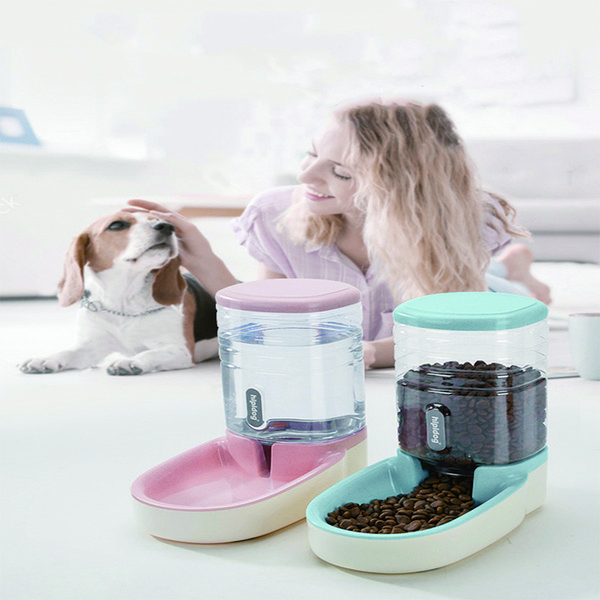 top popular Dogs Automatic Pet Feeder Cat Drinker Dog Bowl Water Feeding Combination Food Storage Bucket size 43*21*27 2021
