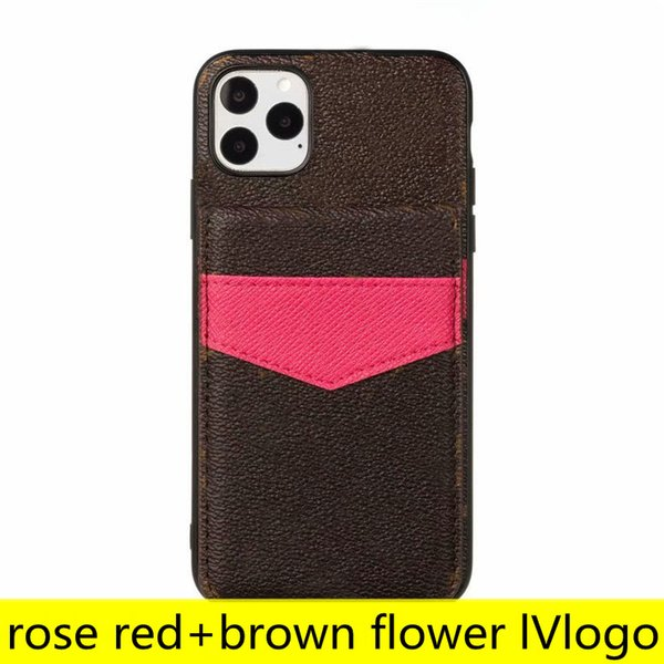 L Fashion Designer Brown Flower Phone Cases for iPhone 12 11 pro max Xs XR Xsmax 78 plus Leather Card Holder Pocket Cellphone Cover with Samsung Note20 Note10 S20 S10