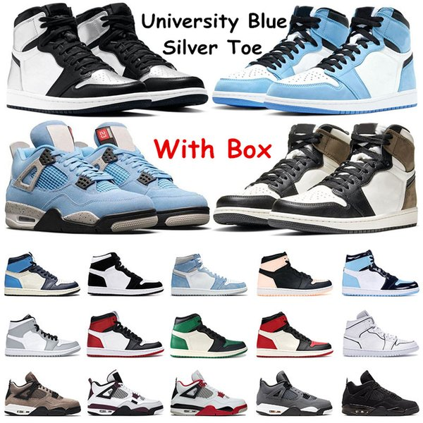 top popular University Blue Basketball Shoes 1s Dark Mocha Hyper Royal Obsidian Silver Toe mens running sneakers 4 Fire Red Black Cat Womens Sports Trainers 2021