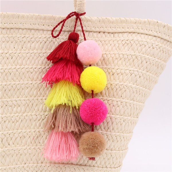 10pcColorful Boho Pom Pom Key Chain Bag Accessories Tassel Bag Purse Rainbow Charm Keychain summer jewelry