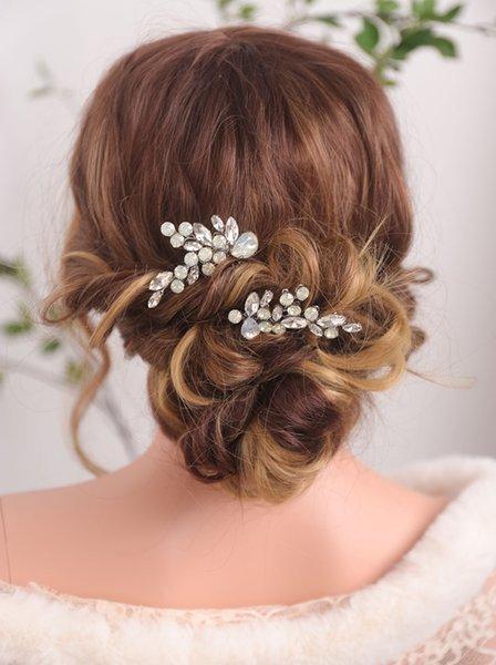 Bride Hat Hair comb Rhinestones A pair of Hair Jewelry Silver Bridesmaid gift Hair clip for women