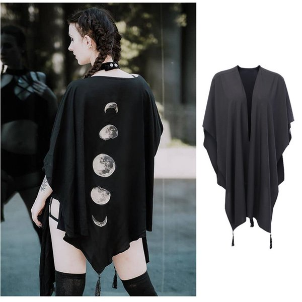 tee style cape top moon painting cardigan Gothic clothing women's wild black street suit We offer the wholesale price, high quality, professional e-business service. Customizable product for you piction. Fashion & Nice Design and many color options. Very competitive price to meet your daily request. You will be satisfied with the shopping experience in our store. Look forward to doing good business with all my friends in the world. Special Discount! The most competitive price! We Support Wholesale,Ship to all the World.hope to establish a long-term business relationship with you.