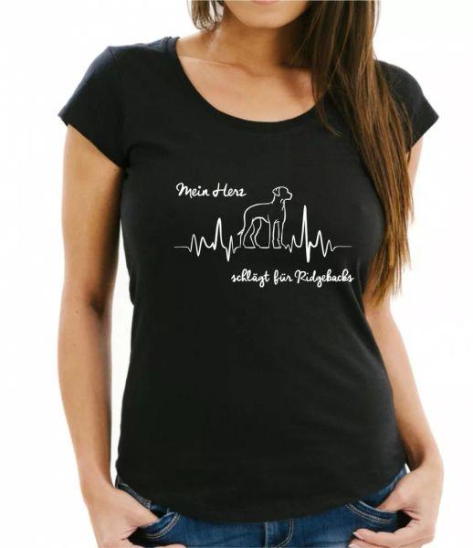 Rhodesian Ridgeback Ladies T-Shirt Heartbeat ECG Dog Dogs Motif Heart Heartbeat