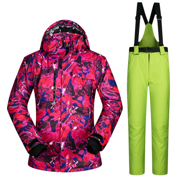 top popular New High Quality Men Skiing Jackets And Pants Snowboard Clothes Thick Warm Waterproof Windproof Winter Dress Leopard Jacket 2021