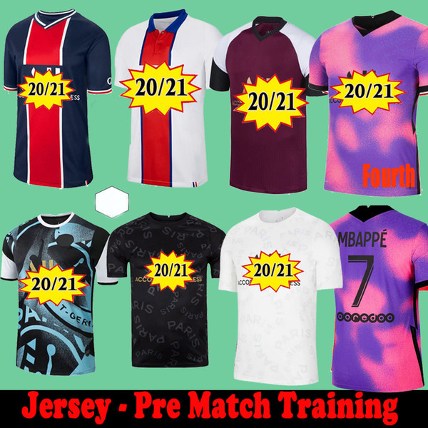 top popular Maillots de football soccer jerseys 2021 Pre Match Training Florenzi 20 21 MBAPPE ICARDI camisetas futbol shirt VERRATTI sets Fourth White SARABIA GANA MARQUINHOS 2021