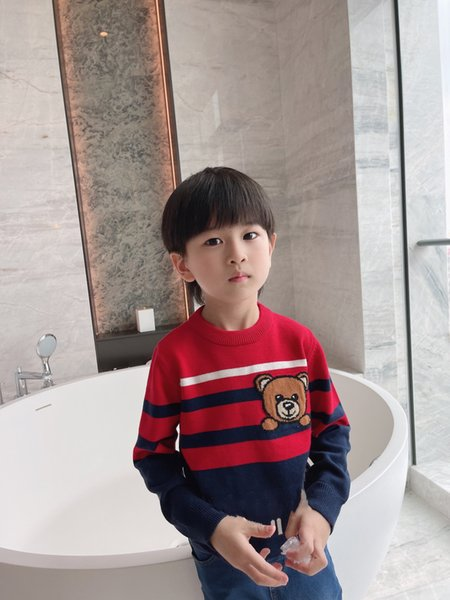 top popular Winter Kids Girls Sweater Baby Boy Knitting pullover Striped Sweaters Children Cartoon Clothes Tops 2021