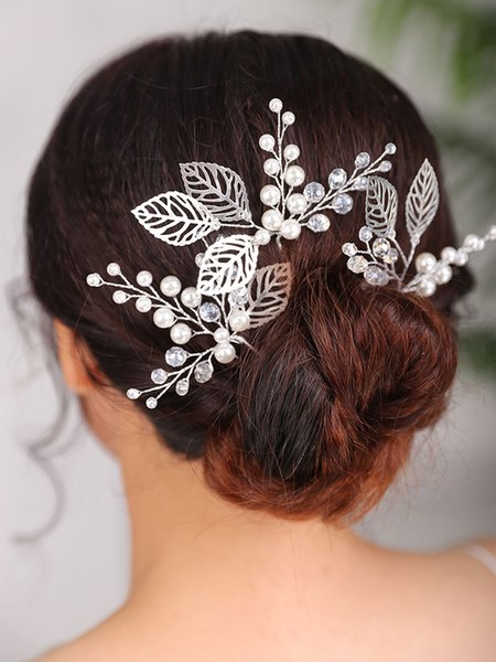 Vintage Hair pin Silver Headpieces Leaves Headdress Classic bride to be Hair clip wedding accessories decoration for women