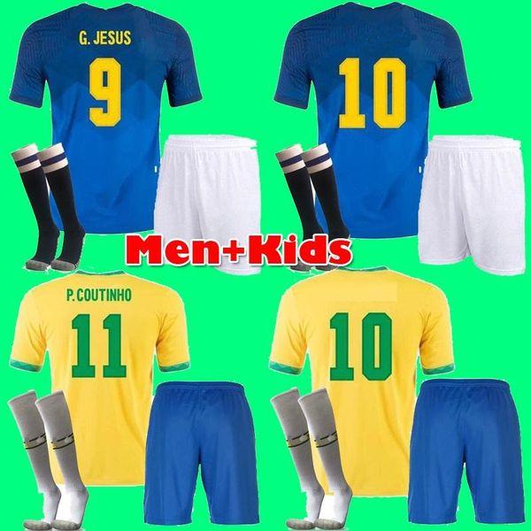 BRASIL NERES COUTINHO soccer jersey 2021 camiseta de futebol BraziLS G.JESUS FIRMINO 21 22 football shirt Men + Kids kit set uniforms