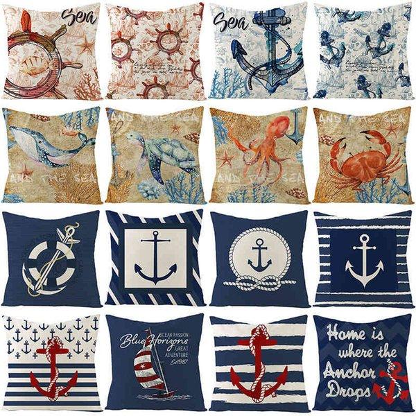 top popular Nordic linen pillow case blue boat anchor animal sofa cushion pillow case household goods 2021
