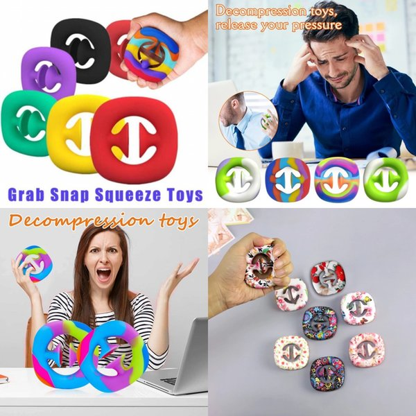 best selling DHL Rainbow Fidget Grab Snap Squeeze Toy Hand Snappers Hands Strength Grip Grabs Squeezy Snap Sensory Toys Autism Stress Relief