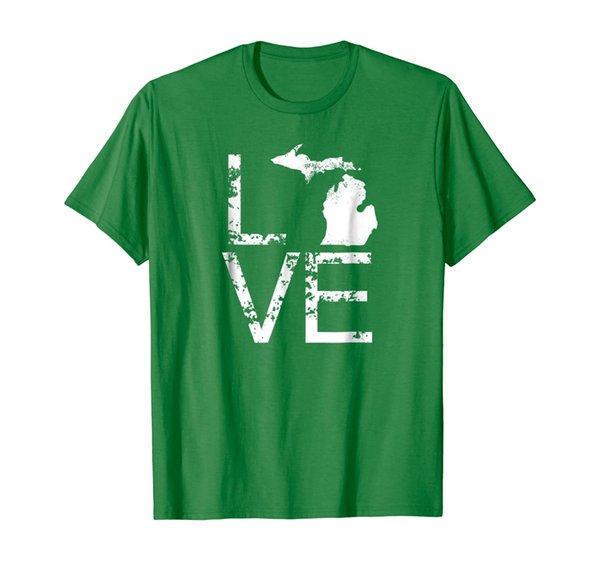 Michigan Love Shirt MI State Home Pride Map Distressed Tee