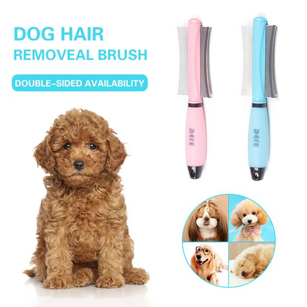 Pet Brush Double Sided Arc-shaped Stainless Steel Pets Hair Removal Comb For Dogs Cats Anti-slip Grooming Tools Pet Products