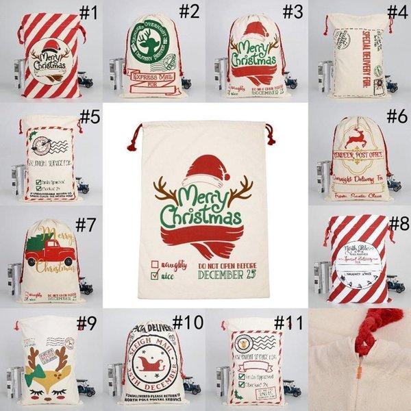 best selling Christmas Santa Sacks Gift Bags Large Organic Heavy Canvas Bag Santa Sack Drawstring Bag With Reindeers Santa Party Claus Sack Bags