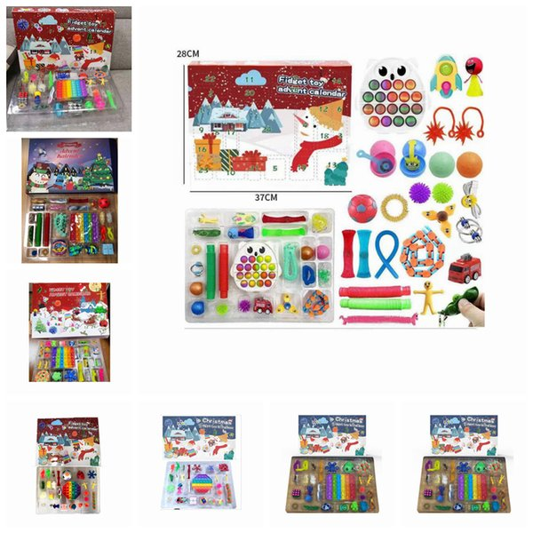 best selling 24pcs Set Christmas Fidget Toys Advent Calender Blind Boxes Simple Dimple Decompression Toy Push Bubbles Kids Xmas Gift ZZA3412 Ship by Sea