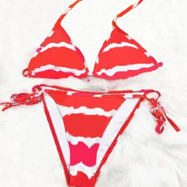 top popular Sexy Bikini Print Womens Swimwear Suspenders Letters Summer Swimsuit Briefs 6 Colors Asian Size S-XL 2021