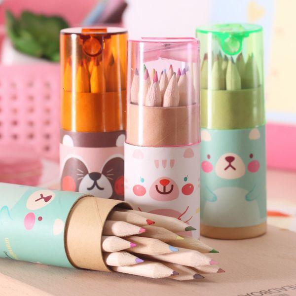 top popular Pencils Korean creative stationery Cute Mini Bear 12 color small painting color color 2021