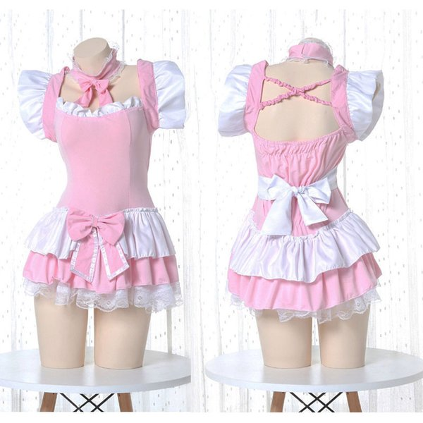 Lolita Cute Lolita Dress Pink Maid Outfit Japanese Anime Cosplay Costume Apron Maid Uniform Kawaii Nightdress Outfit for Woman