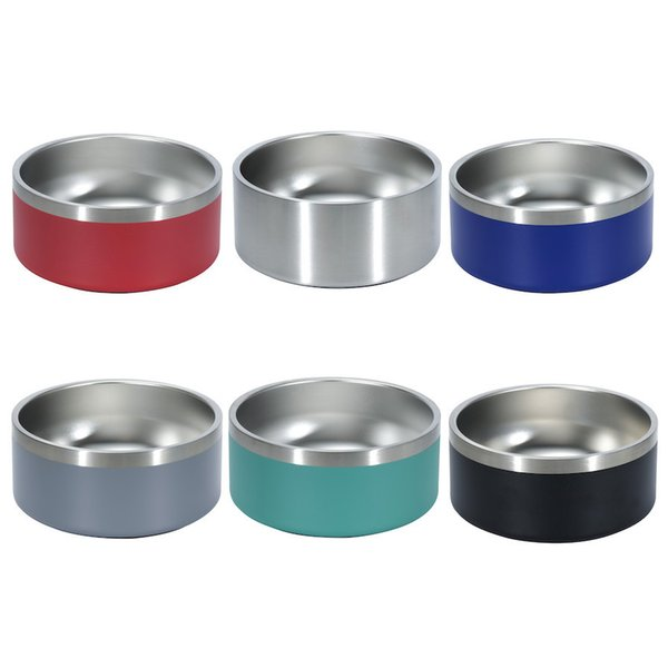 top popular DOG Pet Food Container Soup BOWL Feeders Boomer Round Stainless Steel 6 colors 32oz 1pc 2021