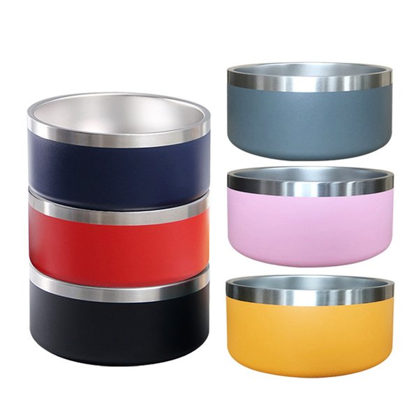 best selling Dog Bowl 64oz 2L 42oz 1.2L 304 Stainless Steel Tough Pet Bowls Feeding Feeder Water Food Station Solution Puppy Supplies 20*9cm 18*7cm