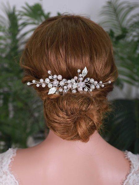 Trendy Hair Clips Party Headdress Leaf Hair Pearl Headpieces Bride Hair Comb Wedding Accessories Bridal Headdress For Women