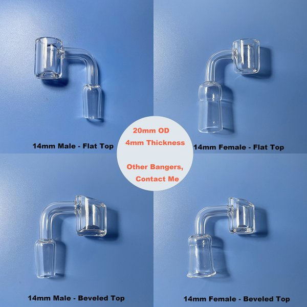best selling 10pcs Quartz Banger Smoking Accessory For Glass Water Bong - 20mm OD 4mm Wall and Bottom Thickness 10mm 14mm 18mm Male Female 45 90 Degree Joint Flat Beveled Top