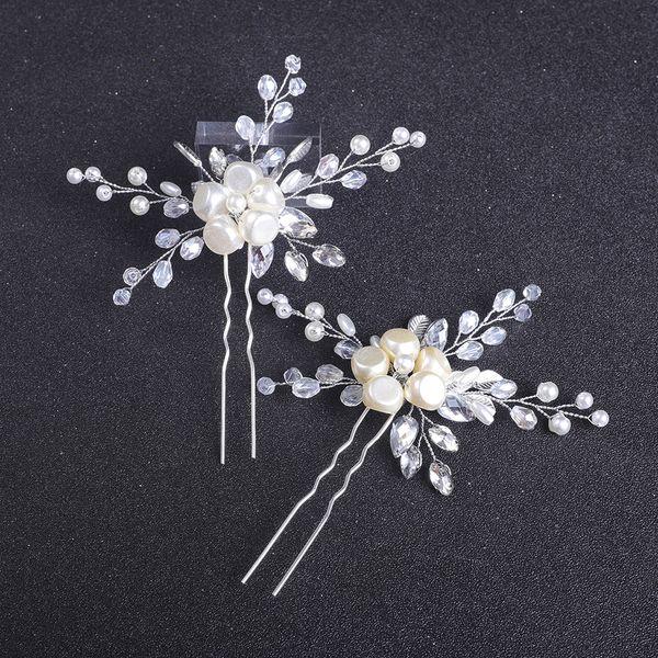 Chic Irregular Pearl Hair Pins Bride Flower Hair Jewelry Wedding Hair Accessories Prom Banquet Women Headpieces Bridal Headwear