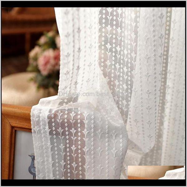 top popular Drapes Korean Luxury Lace Embroidered Tulle Curtain White Elegant Sheer Voile For Living Room Bedroom Custom Kitchen Short Panel 5544 Lfevw 2021