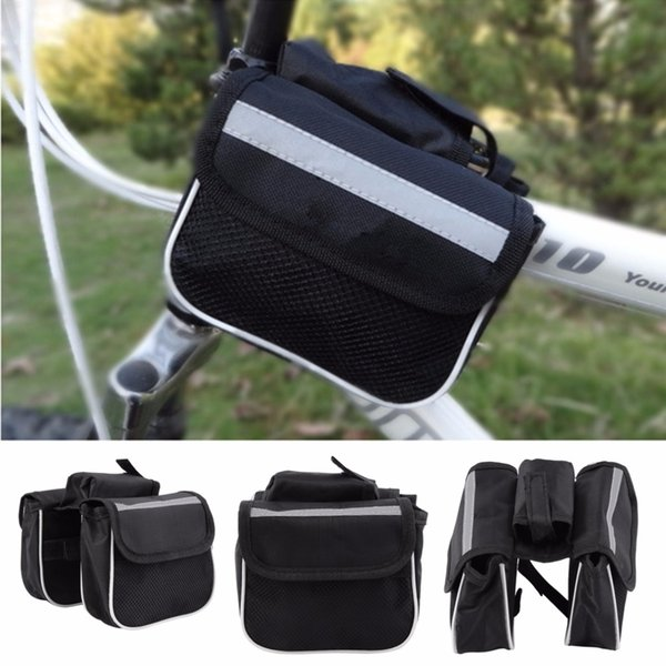 top popular 2021 Bicycle Cycling Frame Pannier Saddle Front Tube Bag Both Side Double Pouch 2021