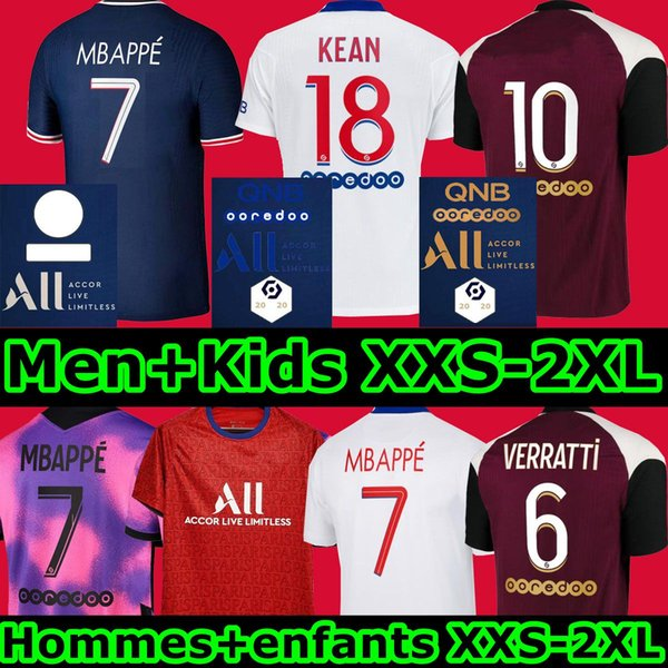 best selling 20 21 psgjersey soccer jersey Fourth 4th MBAPPE VERRATTI 2020 2021 THIRD HOME AWAY MARQUINHOS KIMPEMBE DI MARIA KEAN football tops men shirt kids sets