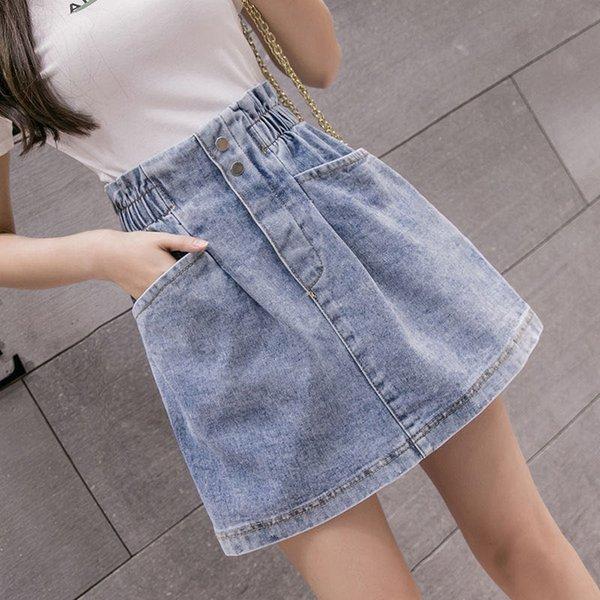 Elastic High Waist Denim Skirt 2021 Woman Skirts Mini Jean Skirts Pockets Casual Streetwear Female A-line Sexy Black Skirts