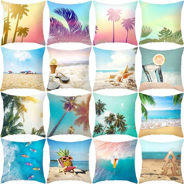 best selling Summer ocean sofa printing pillow cover 2021 Nordic sofa office by pillow cover home