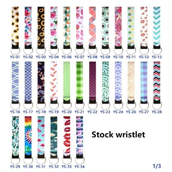 best selling Total 89 color print patterns Neoprene wristlet Keychain of Phone Straps Lanyard with Wrist Rope For Handbag Decoration
