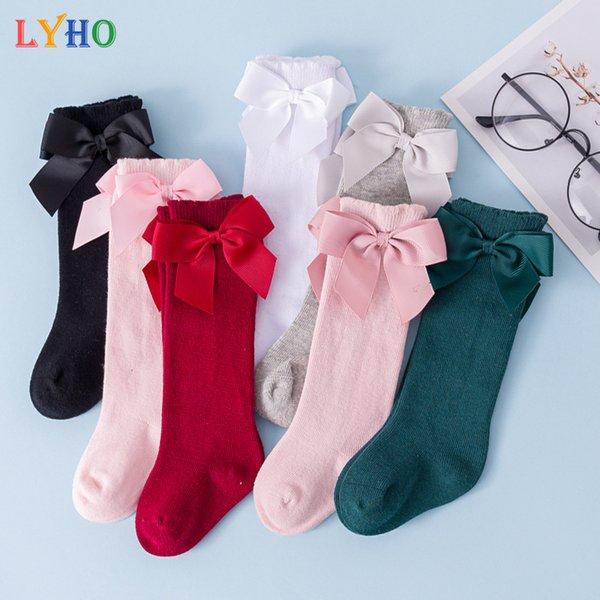 top popular Kids Socks 2021 Winter Spring Knee High Toddler Girls Socks for 0-3 Years Bowknot Keep Warm Cotton Soft Skin-friendly 2021