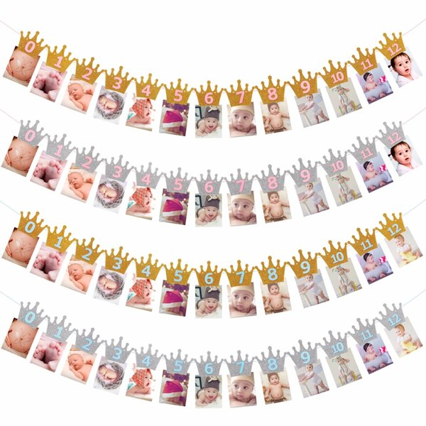 top popular 12 Months Photo Frame Banner Baby Girl First Birthday Party Decorations Kids Favors Home Decor 1 One Year 1st Birthday 2021