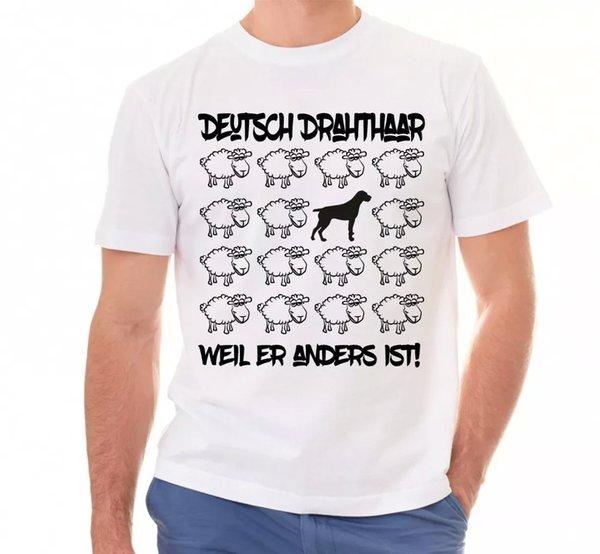 German Wire Hair Unisex T-Shirt Black Sheep Men Dog Dogs Motif VORSTEHHUND