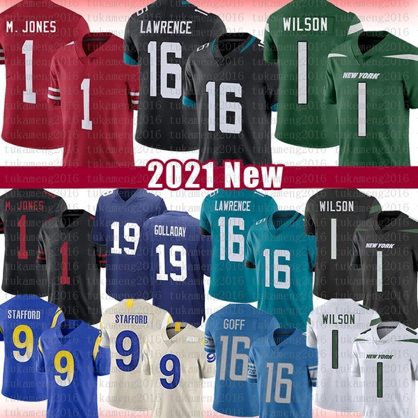 top popular 16 Trevor Lawrence 1 Zach Wilson Football Jersey 1 Mac Jones 9 Matthew Stafford Jared Goff 19 Kenny Golladay 99 J.J. Watt jerseys 2021 New 2021