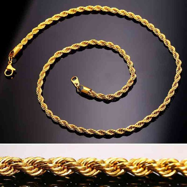 top popular Necklace Twist Chain Titanium Steel Men's Trendy Simple Stainless Steels hip-hop Necklaces Jewelry Chains Gift Bulk 2021